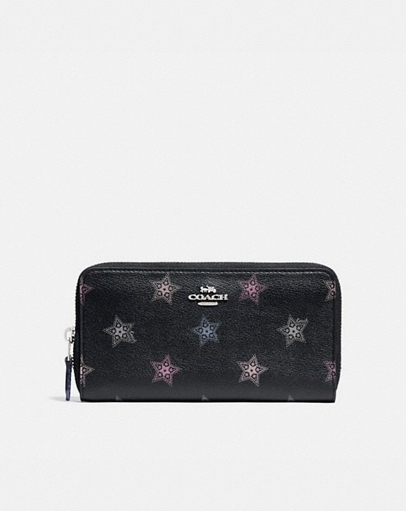 Coach ACCORDION ZIP WALLET WITH DOT STAR PRINT