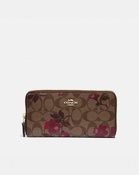 Coach ACCORDION ZIP WALLET IN SIGNATURE CANVAS WITH VICTORIAN FLORAL PRINT