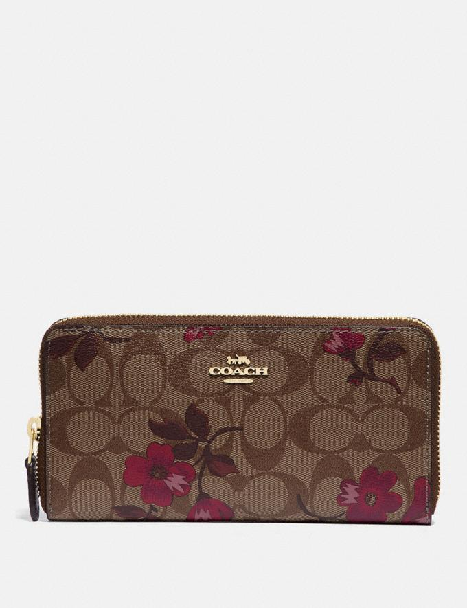 Coach Accordion Zip Wallet in Signature Canvas With Victorian Floral Print Im/Khaki Berry Multi
