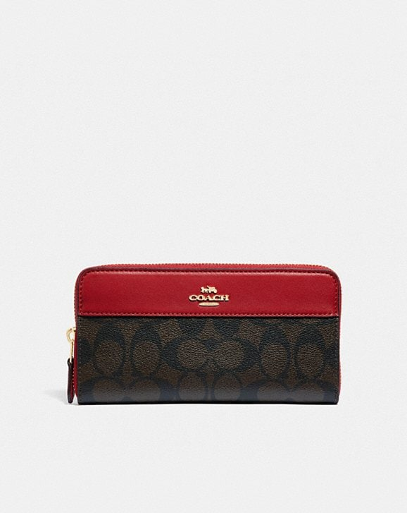Coach BOXED ACCORDION ZIP WALLET IN SIGNATURE CANVAS WITH STRIPE