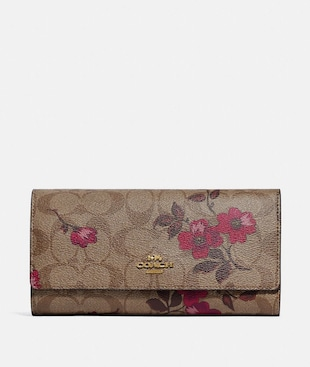 TRIFOLD WALLET IN SIGNATURE CANVAS WITH VICTORIAN FLORAL PRINT