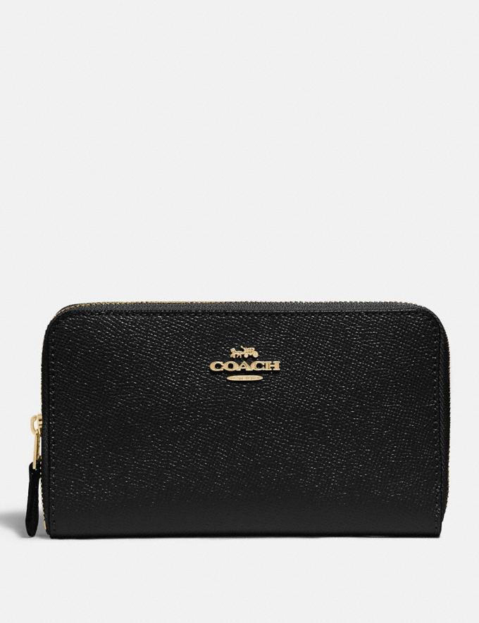 Coach Medium Zip Around Wallet Im/Black Accessories Wallets