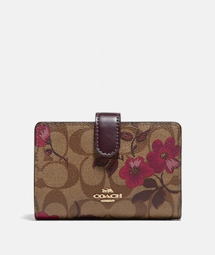 MEDIUM CORNER ZIP WALLET IN SIGNATURE CANVAS WITH VICTORIAN FLORAL PRINT