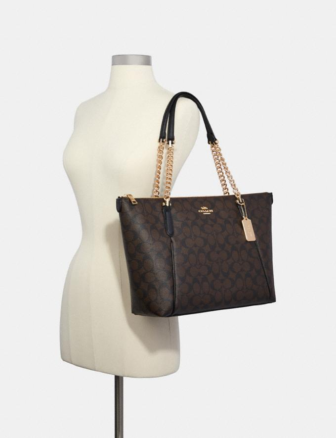 Coach Ava Chain Tote in Signature Canvas Im/Brown/Black 70% Off Steals Alternate View 2