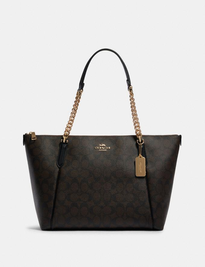 Coach Ava Chain Tote in Signature Canvas Im/Brown/Black 70% Off Steals