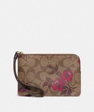 CORNER ZIP WRISTLET IN SIGNATURE CANVAS WITH VICTORIAN FLORAL PRINT