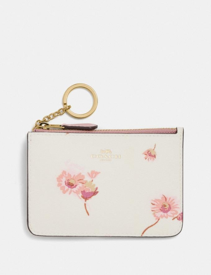 Coach Key Case With Multi Floral Print Im/Chalk Multi