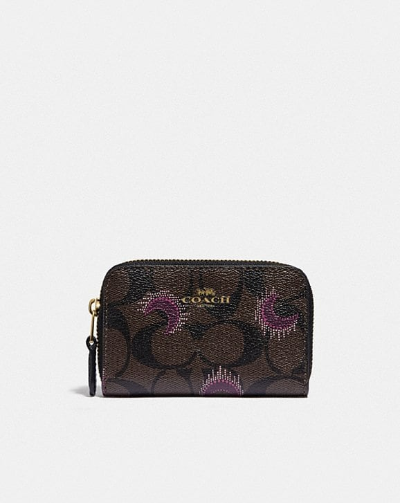 Coach ZIP AROUND COIN CASE IN SIGNATURE CANVAS WITH MOON PRINT