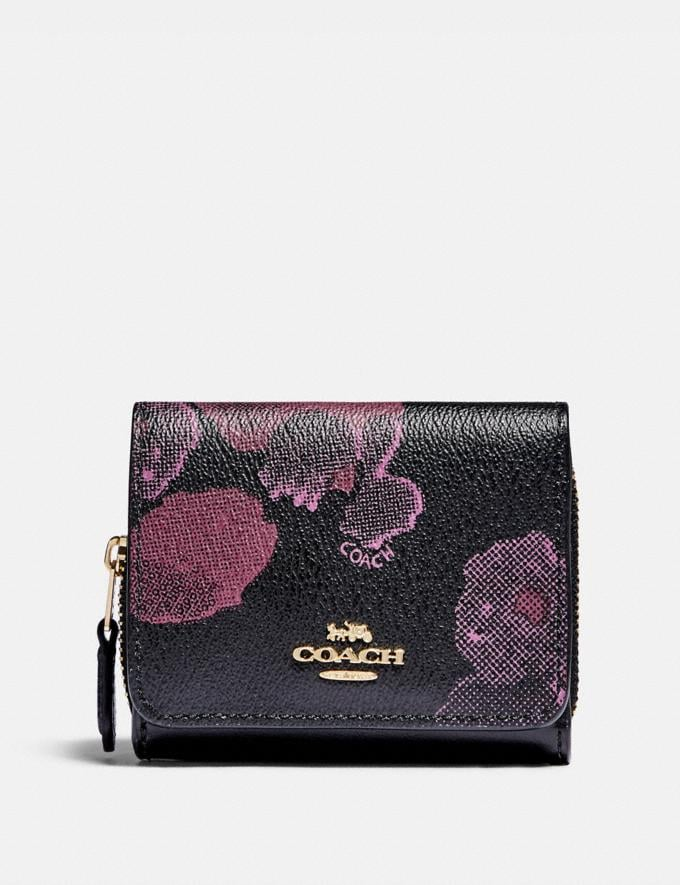 Coach Small Trifold Wallet With Halftone Floral Print Im/Black Wine Explore Women Explore Women Wallets