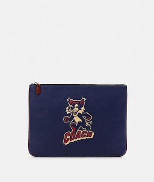 LARGE POUCH WITH PARTY CAT MOTIF