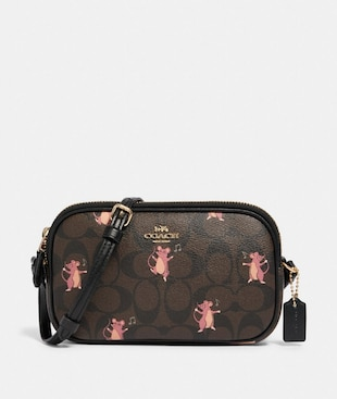 CROSSBODY POUCH IN SIGNATURE CANVAS WITH PARTY MOUSE PRINT