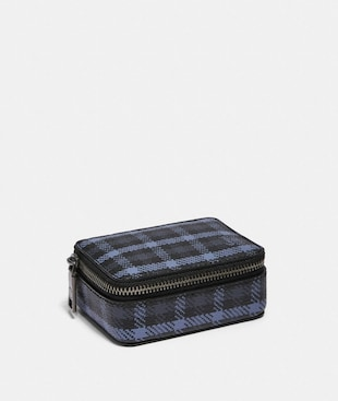 PILL BOX WITH TINY CLASSIC PLAID PRINT