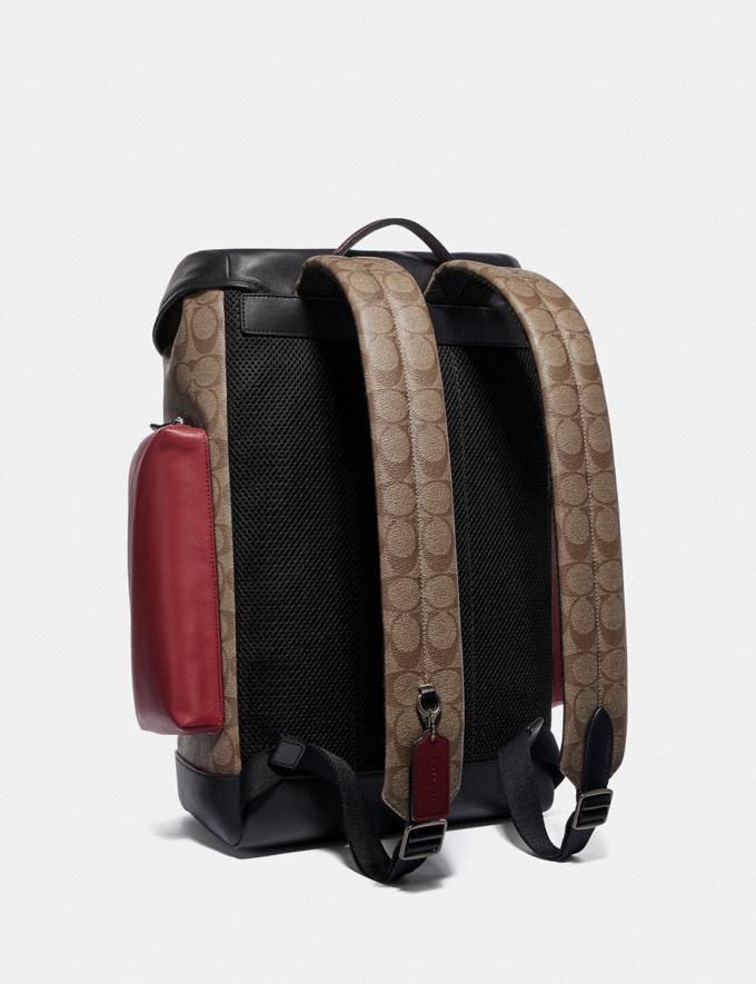 Coach Ranger Backpack in Colorblock Signature Canvas Qb/Tan Soft Red Explore Men Explore Men Travel Alternate View 1