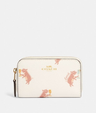 ZIP AROUND COIN CASE WITH PARTY PIG PRINT