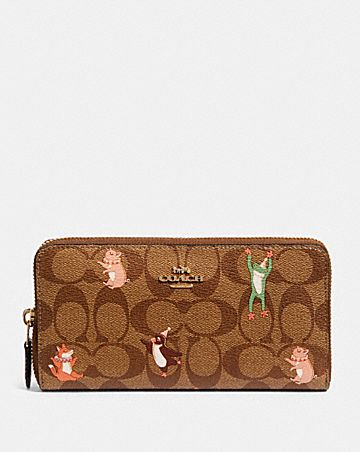 accordion zip wallet in signature canvas with party animals print