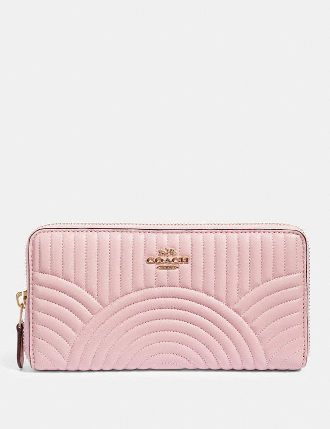 Coach Accordion Zip Wallet With Art Deco Quilting Im/Pink