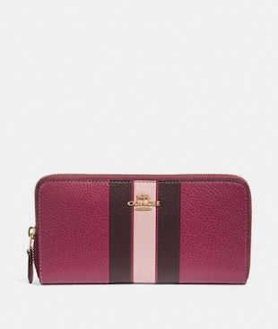 ACCORDION ZIP WALLET WITH VARSITY STRIPE