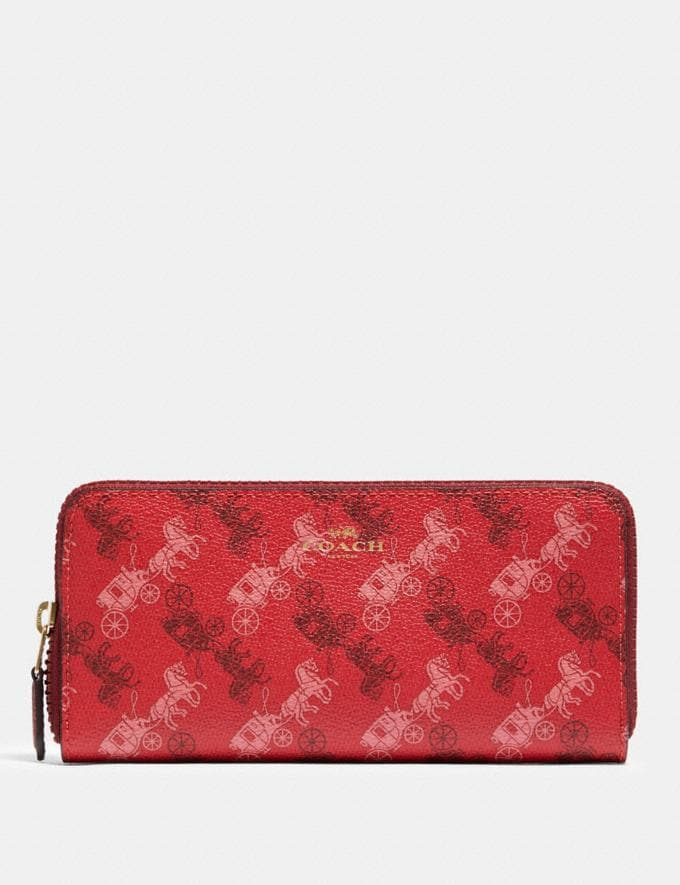 Coach Slim Accordion Zip Wallet With Horse and Carriage Print Im/Bright Red/Cherry Multi Explore Women Explore Women Wallets