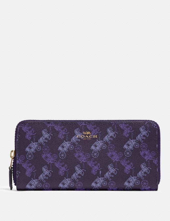Coach Slim Accordion Zip Wallet With Horse and Carriage Print Im/Dark Purple/Lavendar Multi Deals Steals Under $75