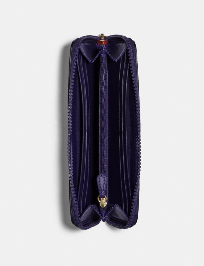 Coach Slim Accordion Zip Wallet With Horse and Carriage Print Im/Dark Purple/Lavendar Multi Deals Steals Under $75 Alternate View 1