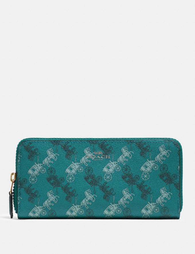 Coach Slim Accordion Zip Wallet With Horse and Carriage Print Qb/Viridian Sage Multi Explore Women Explore Women Wallets