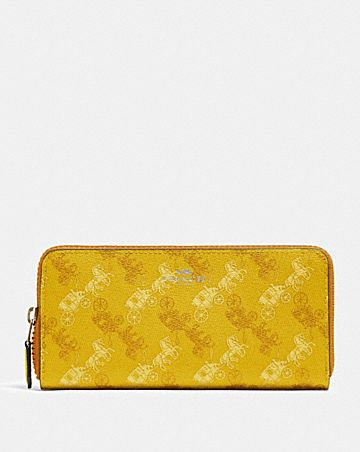 slim accordion zip wallet with horse and carriage print