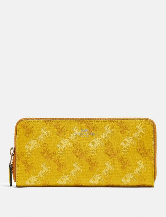 Coach Slim Accordion Zip Wallet With Horse and Carriage Print Sv/Yellow Multi