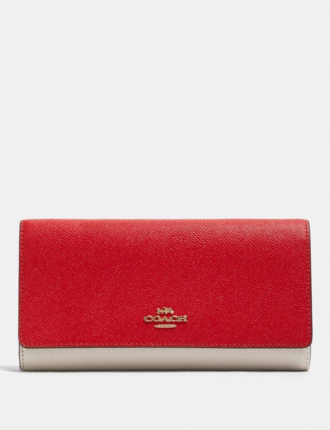 Coach Trifold Wallet in Colorblock Im/Bright Red Multi