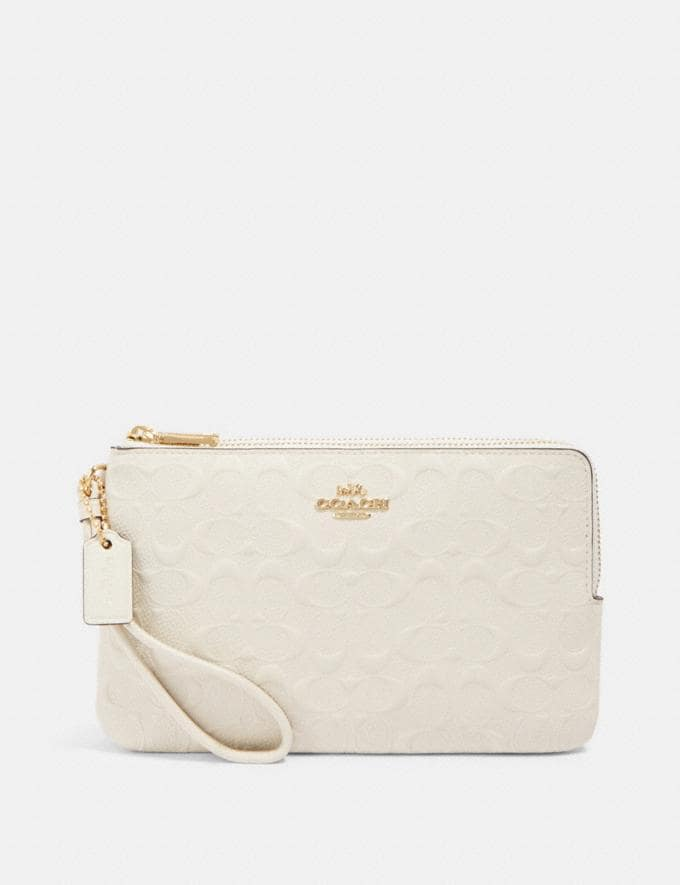 Coach Double Zip Wallet in Signature Leather Im/Chalk Accessories