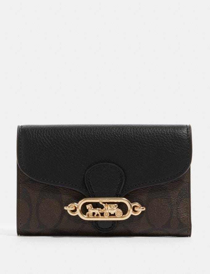 Coach Jade Medium Envelope Wallet in Signature Canvas Im/Brown Black Accessories Wallets