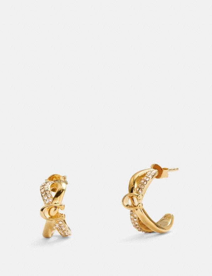 Coach Criss Cross Huggie Earrings Gold