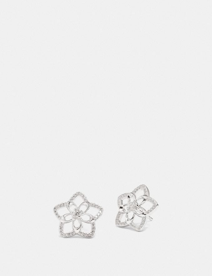 Coach Signature Floral Stud Earrings Sv/Clear