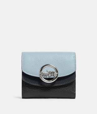 JADE SMALL DOUBLE FLAP WALLET IN COLORBLOCK