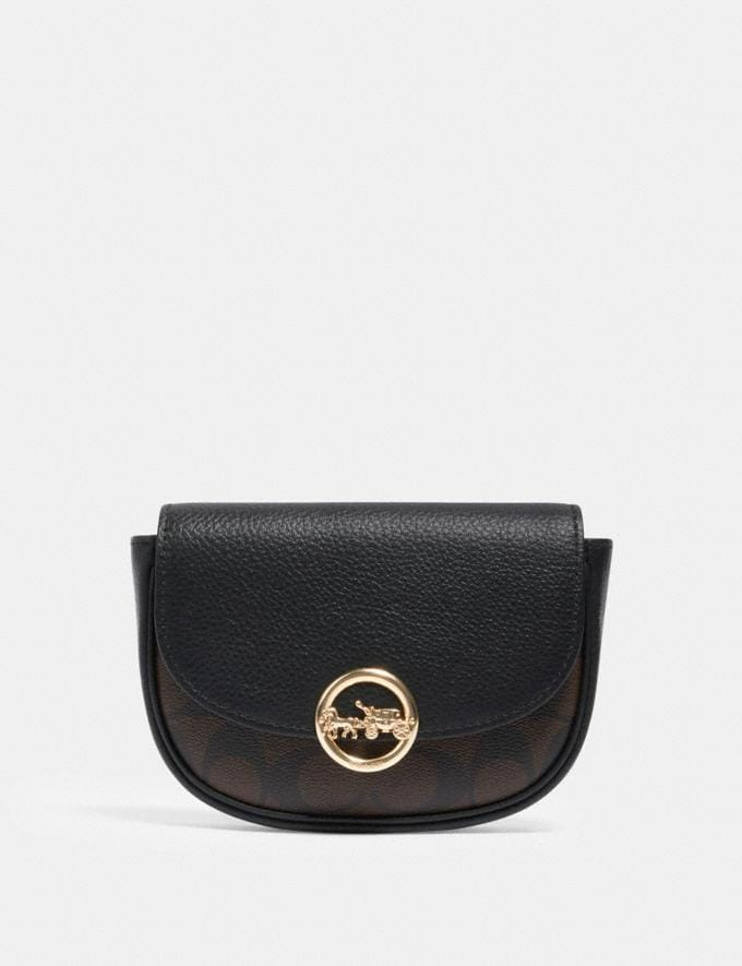 Coach Jade Mini Belt Bag in Signature Canvas Im/Brown Black
