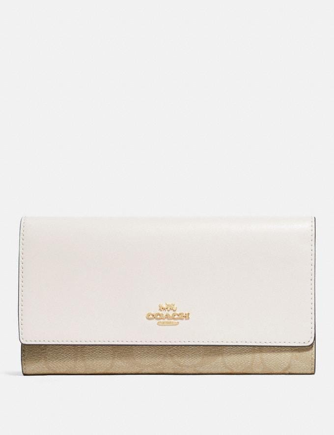 Coach Trifold Wallet in Signature Canvas Im/Light Khaki/Chalk Explore Women Explore Women Wallets