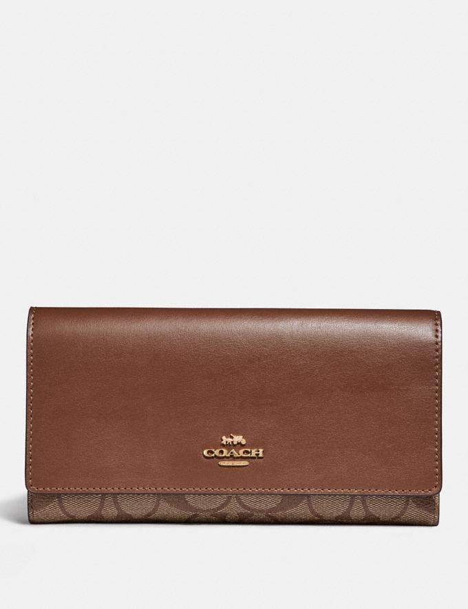 Coach Trifold Wallet in Signature Canvas Im/Khaki/Saddle 2 Explore Women Explore Women Wallets