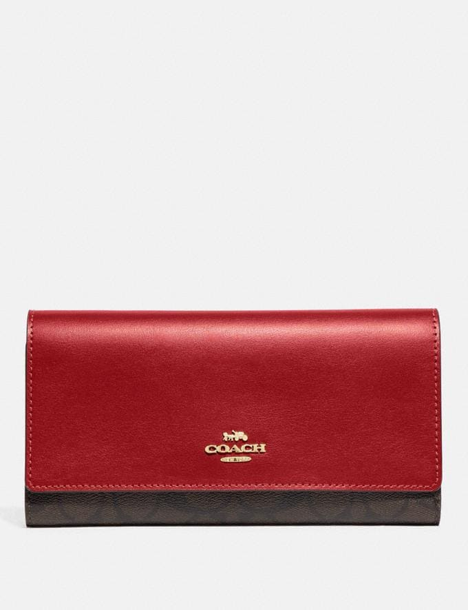 Coach Trifold Wallet in Signature Canvas Im/Brown True Red Explore Women Explore Women Wallets