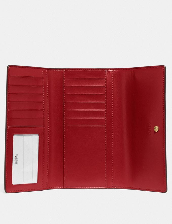 Coach Trifold Wallet in Signature Canvas Im/Brown True Red Explore Women Explore Women Wallets Alternate View 1