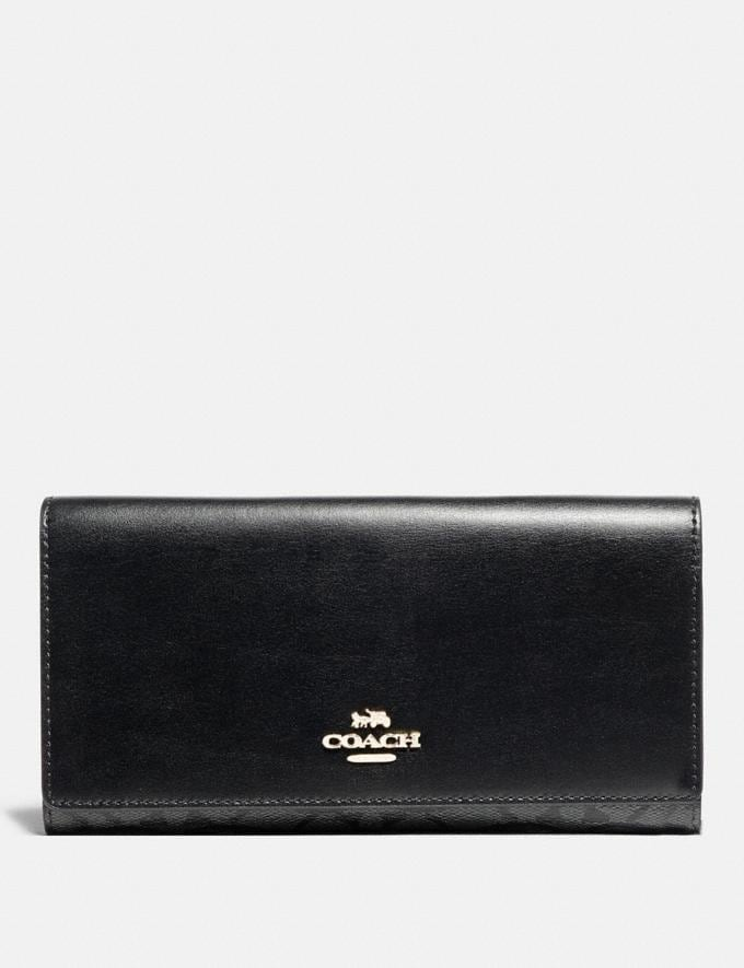 Coach Trifold Wallet in Signature Canvas Sv/Black Smoke/Black