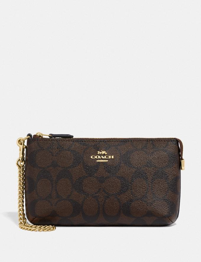 Coach Large Wristlet in Signature Canvas Im/Brown/Black