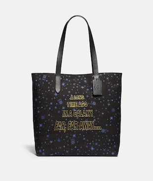 STAR WARS X COACH TOTE WITH STARRY PRINT AND SCROLL PRINT