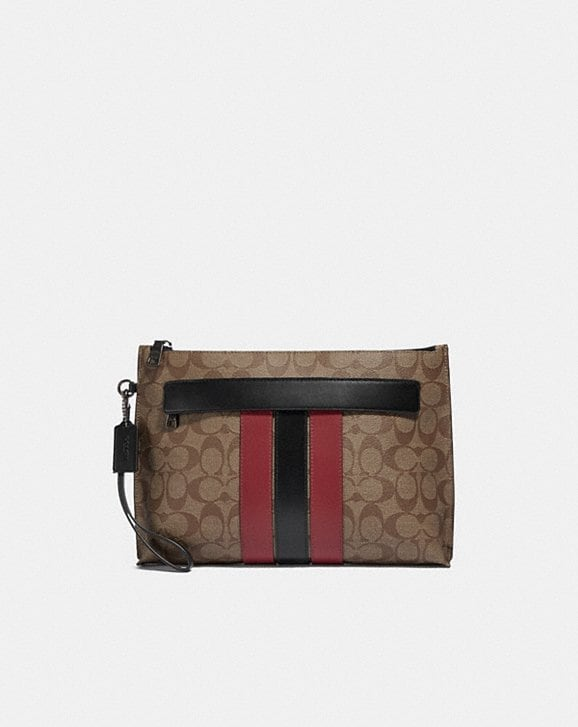 Coach CARRYALL POUCH IN SIGNATURE CANVAS WITH VARSITY STRIPE