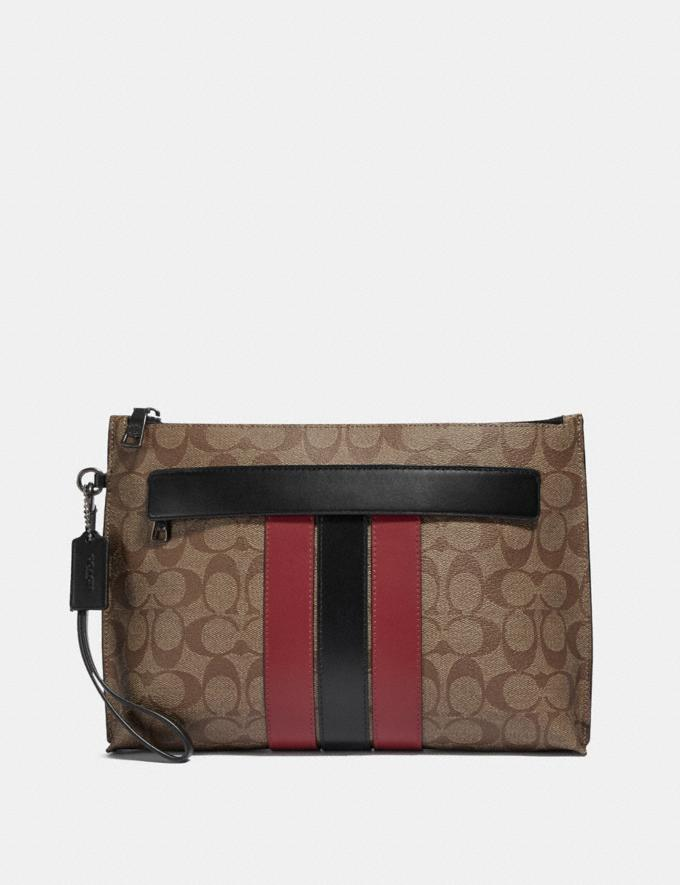 Coach Carryall Pouch in Signature Canvas With Varsity Stripe Qb/Tan Soft Red Explore Men Explore Men Travel