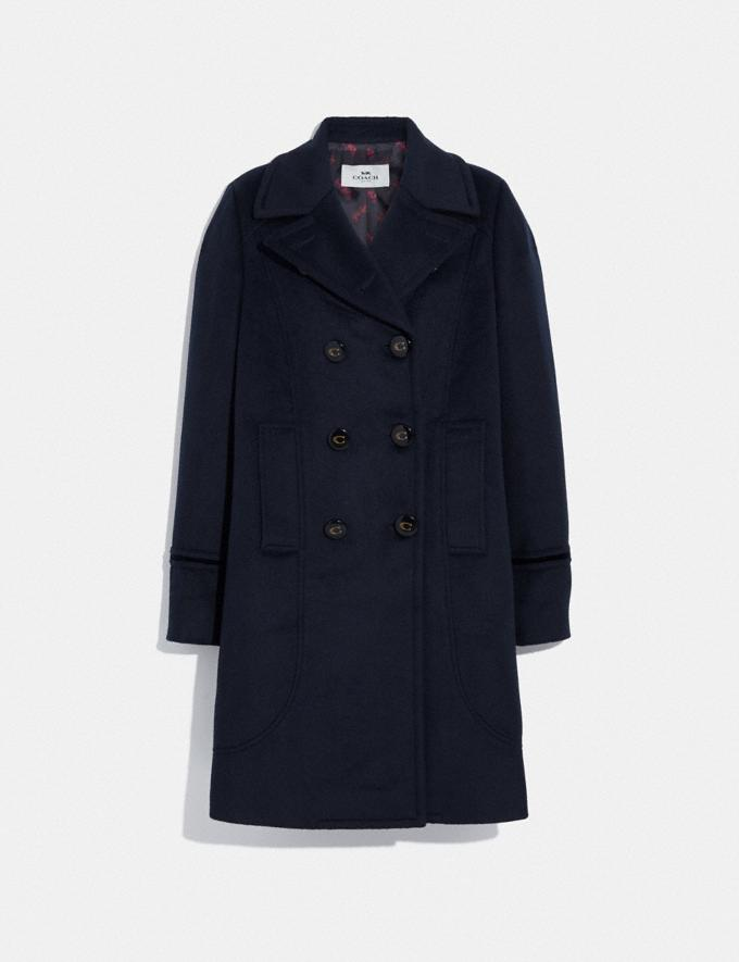 Coach Tailored Wool Coat Navy
