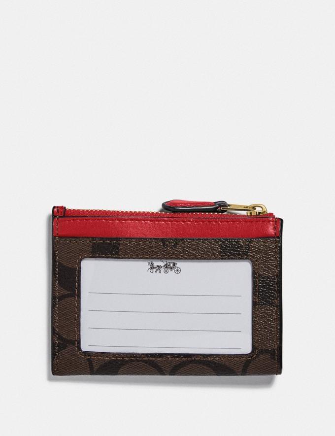 Coach Mini Skinny Id Case in Signature Canvas Im/Brown True Red  Alternate View 1