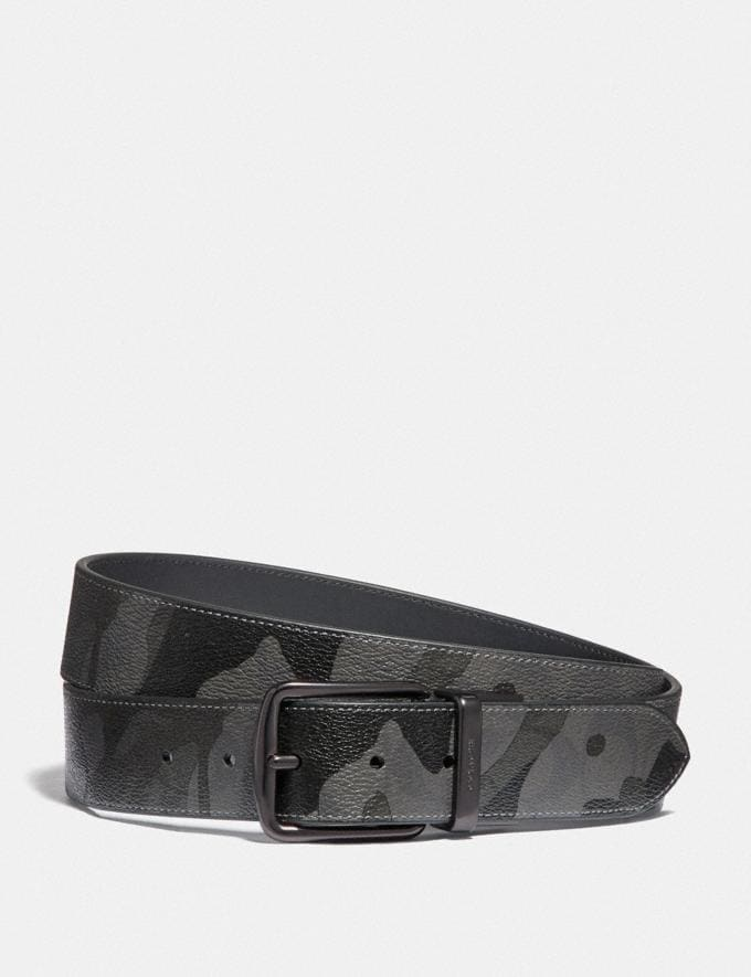 Coach Harness Buckle Cut-To-Size Reversible Belt With Camo Print, 38mm Qb/Grey Multi