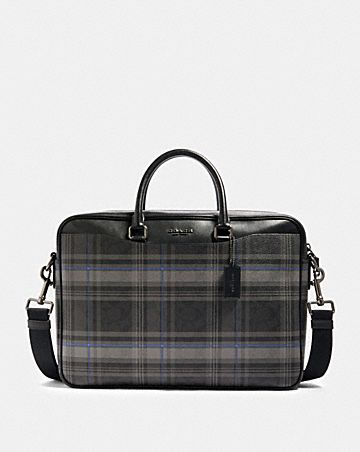 beckett slim brief in signature canvas with plaid print