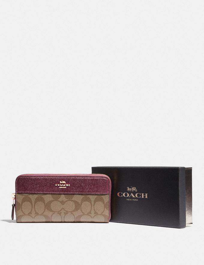 Coach Boxed Accordion Zip Wallet in Signature Canvas Im/Khaki Metallic Wine Explore Women Explore Women Wallets