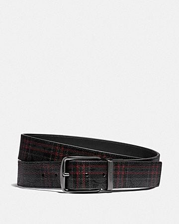 harness buckle cut-to-size reversible belt with shirting plaid print, 38mm