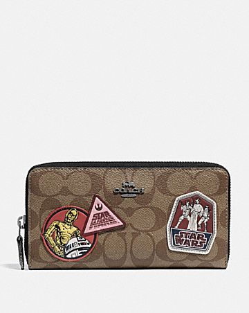 star wars x coach accordion zip wallet in signature canvas with patches